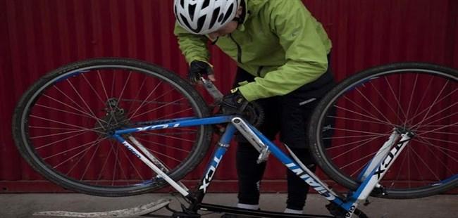Examining a bicycle